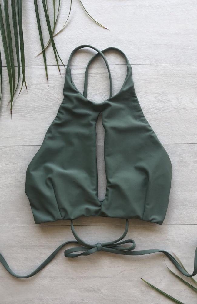 Key Hole Bikini Top in Sage made by SULTRY SWIMWEAR®