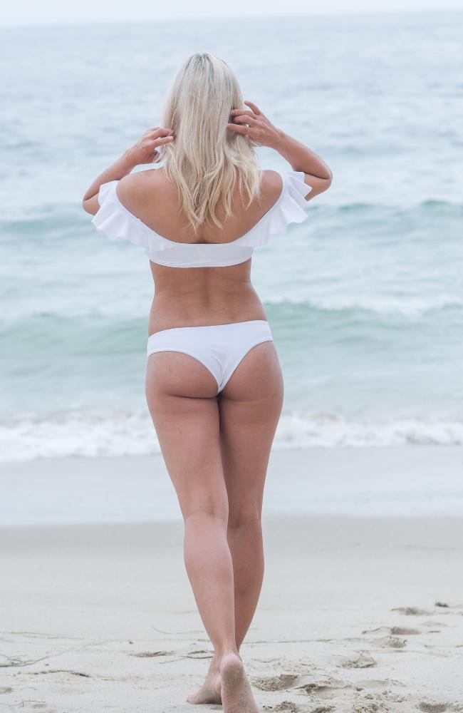 Our Sherri Bottom (no scrunch in back) in White made by SULTRY SWIMWEAR®
