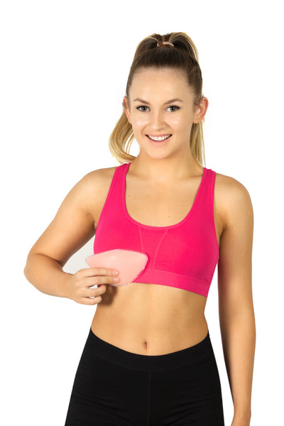 Handee Bra Comfort Bra Secret Pockets Women Travel Bamboo Organic Cotton Pink