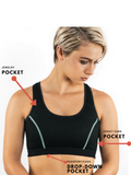 The Travel Bra - Original anti-theft clothing with hidden pockets for passports, jewellery, keys, cash and cards.  Available in sizes Extra Small, Small, Medium, large, Extra Large, 2XL.  Black with blue stitching.
