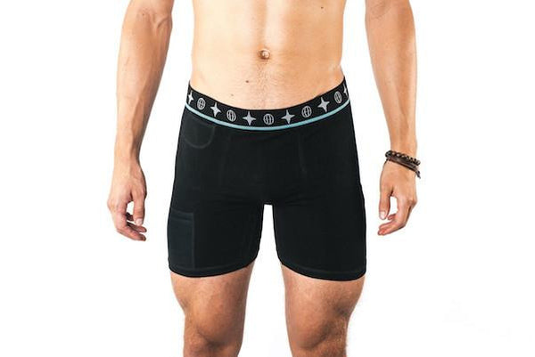 Men's Travel Trunks -Black The Travel Bra Company Bamboo Passport Pockets Secret Organic Cotton