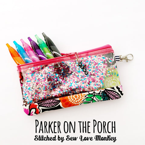 ITH zipper pouch bag pencil clear vinyl glitter machine embroidery in the hoop