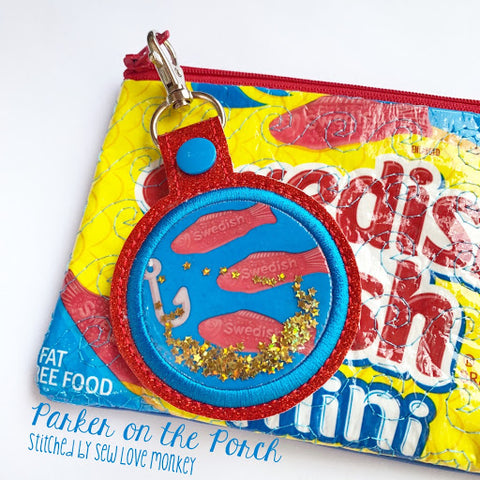 candy snack zipper bag in the hoop fusible vinyl snap tab glitter