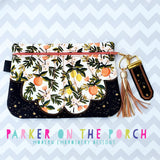 Digital Download- Seaside Front  Zip Clutch Zipper Bag - in the hoop machine embroidery ITH pattern