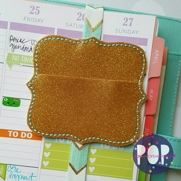 Digital Download - Scallop Square Clip Keeper Planner Band - in the hoop machine embroidery ITH pattern