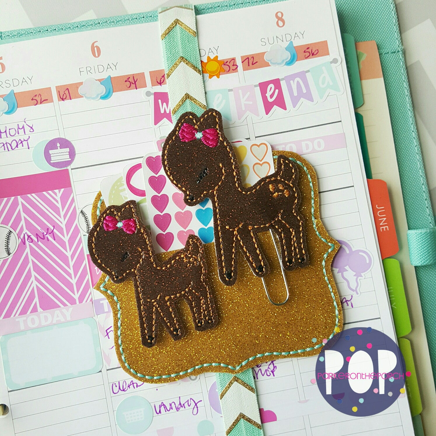 Digital Download- Deer Feltie & Planner Clip Design - in the hoop machine embroidery