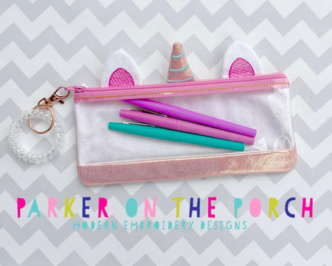 Digital Download - Unicorn Top Zip Pencil Zipper Bag