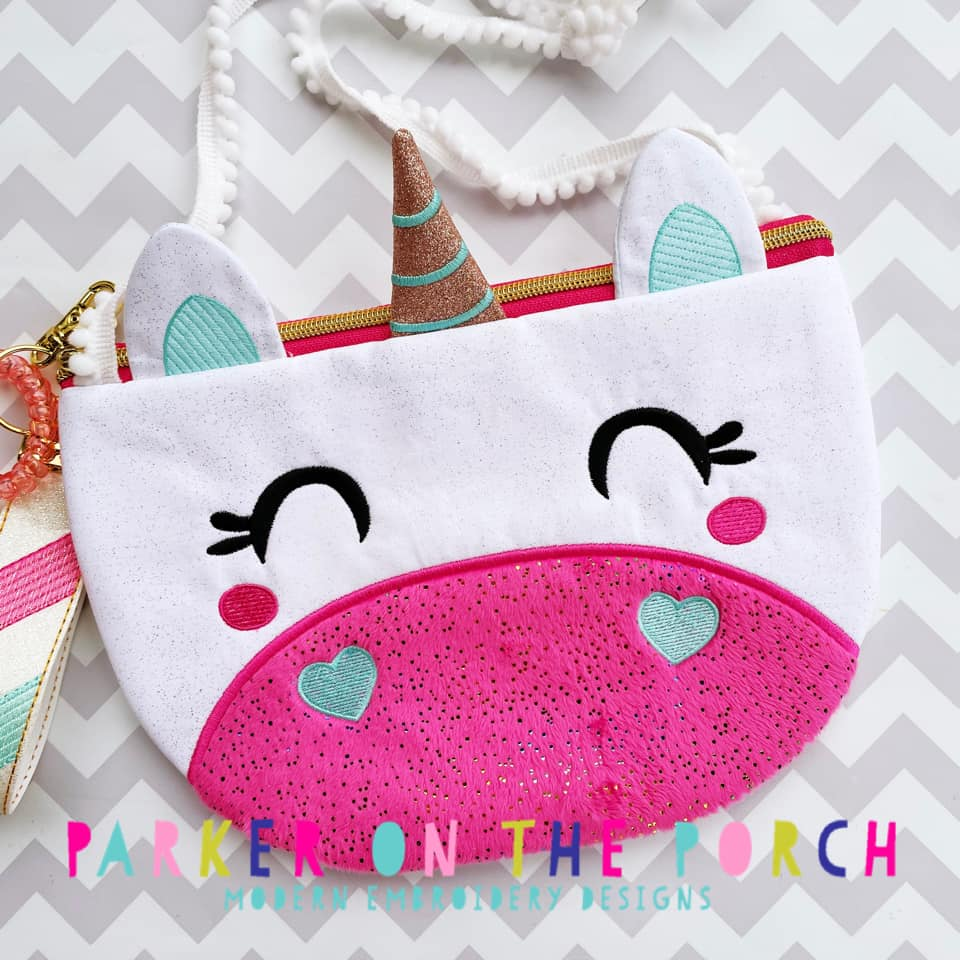 Digital Download- Size 5- Top Zip Unicorn Zipper Bag