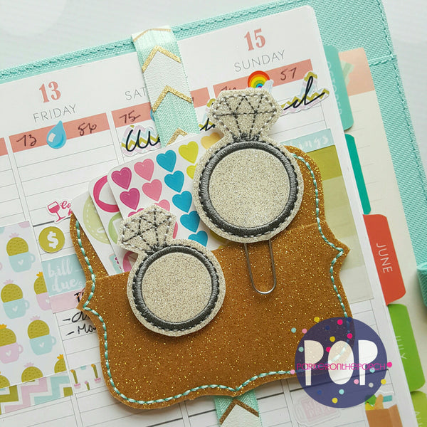 Digital Download- Ring Bling Feltie & Planner Clip Set - in the hoop machine embroidery ITH pattern