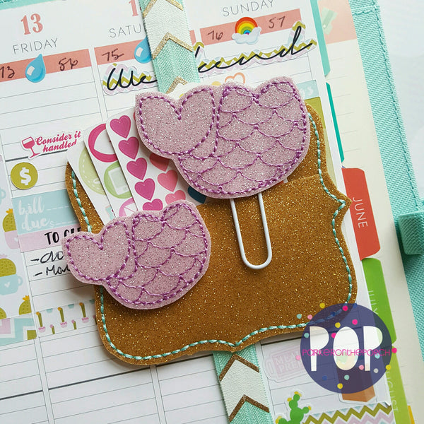 Digital Download- Mermaid Tail Feltie & Planner Clip Set - in the hoop machine embroidery ITH pattern