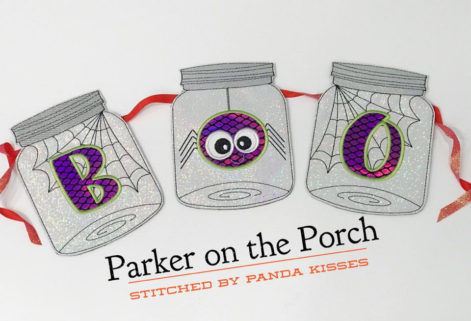 Digital Download- Halloween Boo! Jar Banner - in the hoop machine embroidery ITH pattern
