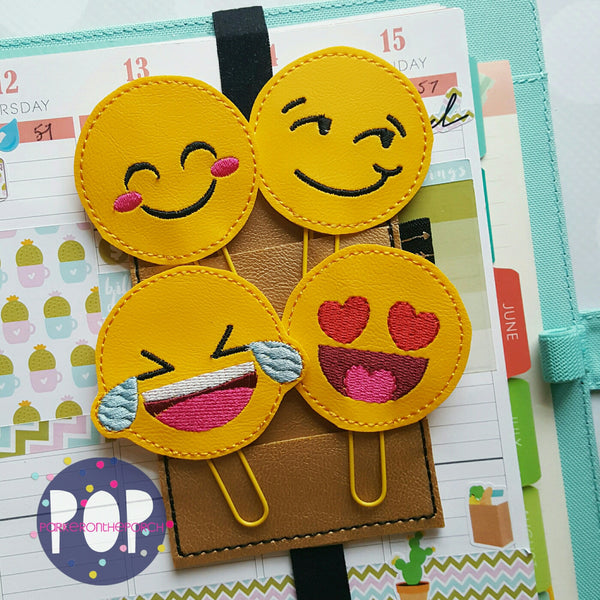 Digital Download- Emoji Planner Clips Set Of 4 - in the hoop machine embroidery ITH pattern