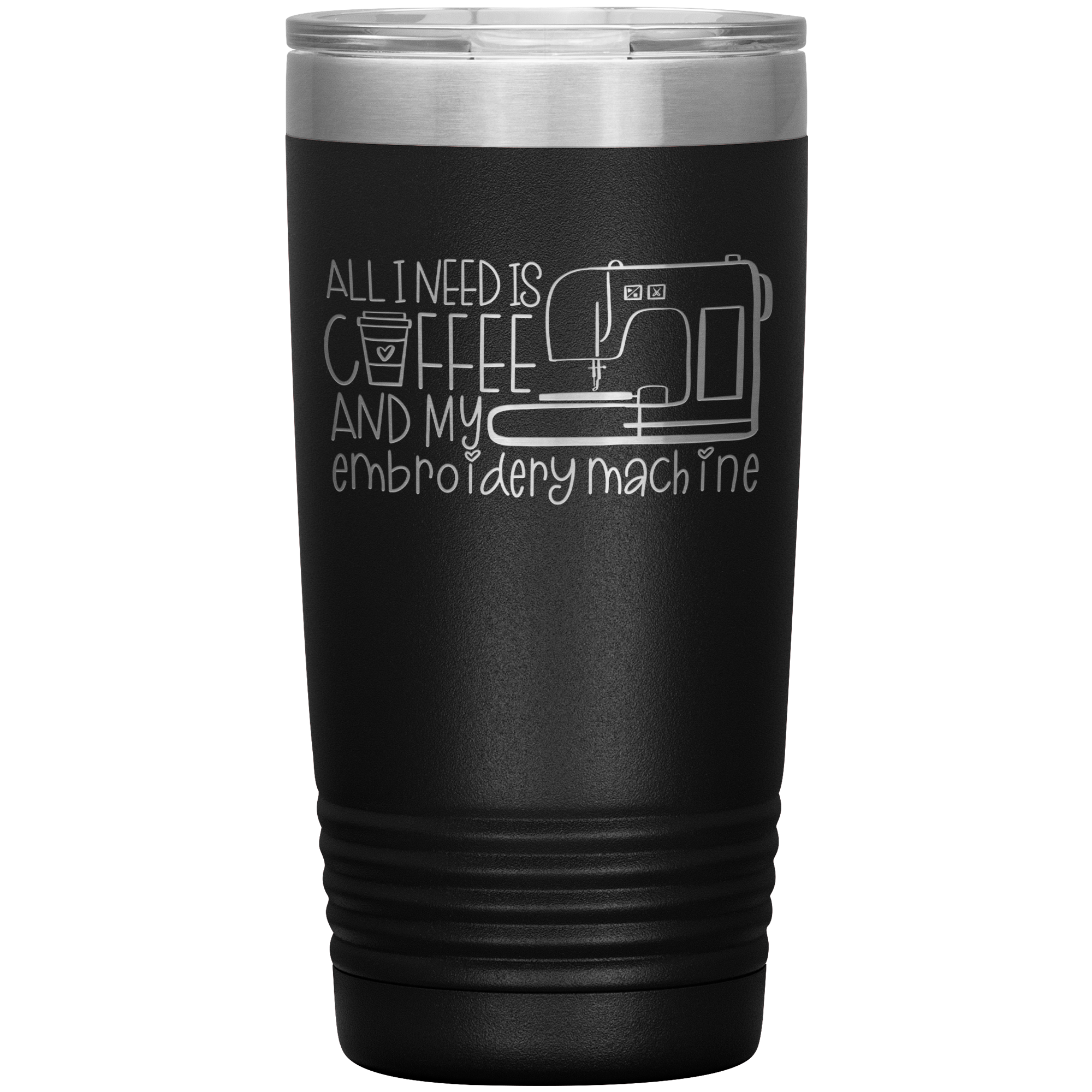 POP Swag- Caffeine and My Embroidery Machine - 20oz Tumbler - in the hoop machine embroidery ITH pattern