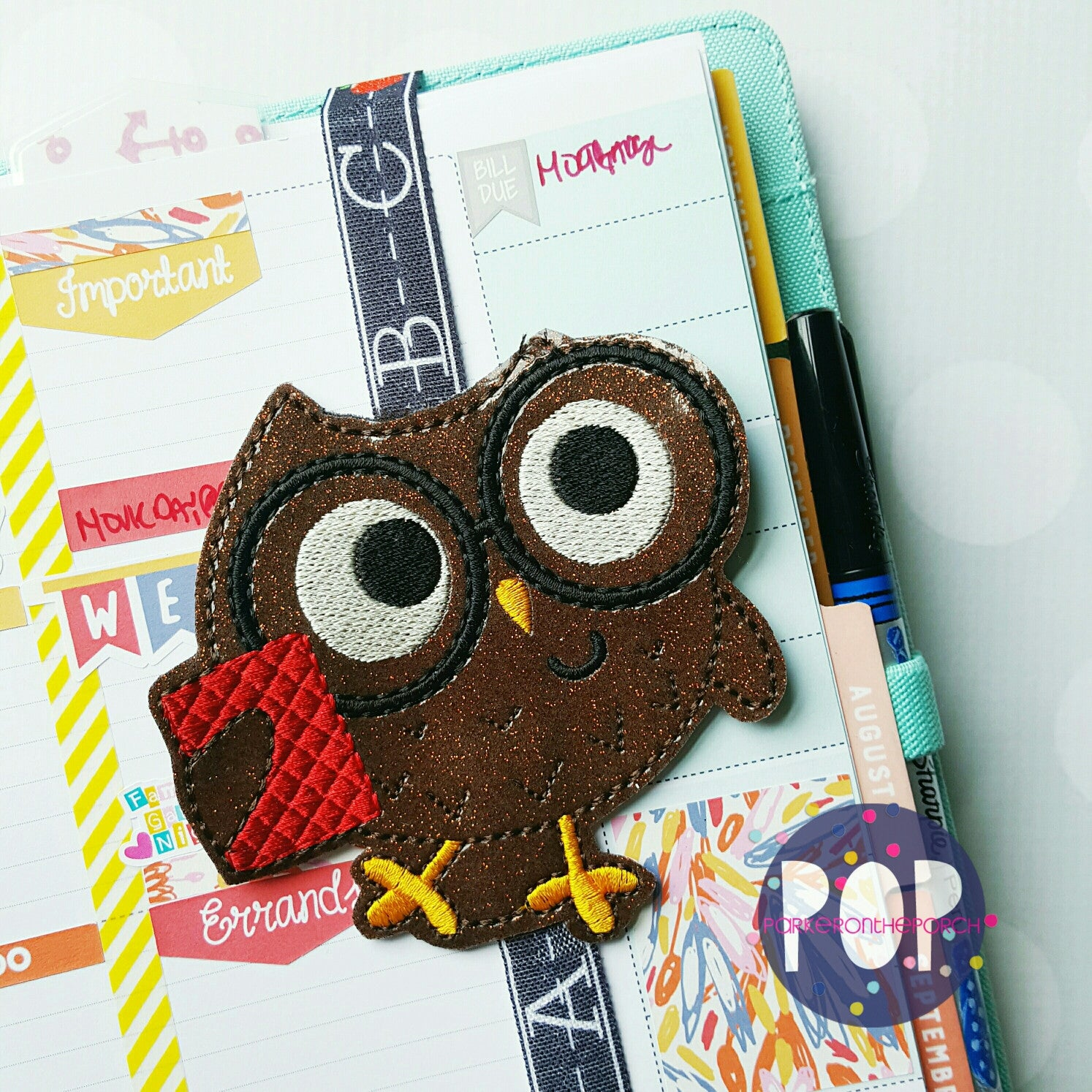 Digital Download- Smart Owl Book Band/ Planner Band - Parker on the Porch