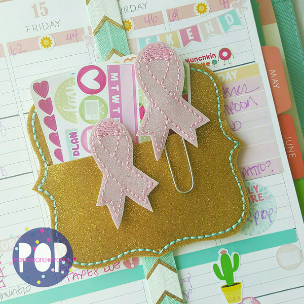 Digital Download-  Awareness Ribbon Feltie & Planner Clip - in the hoop machine embroidery ITH pattern