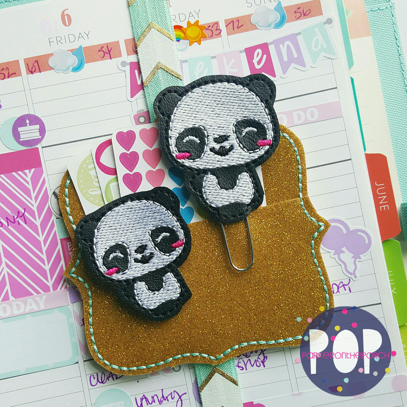 Digital Download- Panda Feltie & Planner Clip Design - in the hoop machine embroidery
