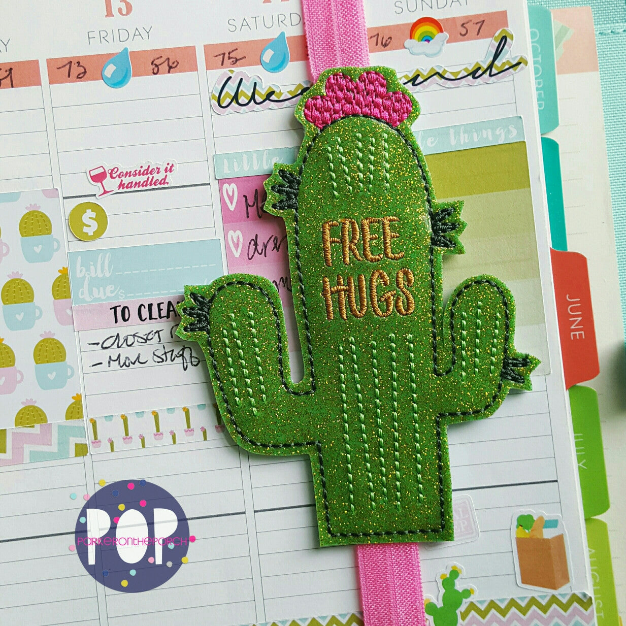 Digital Download- Planner Band- Free Hugs Cactus - Parker on the Porch