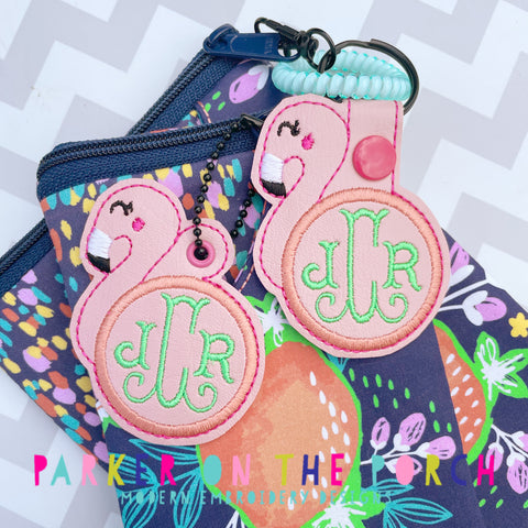 Digital Download- Monogram Snaptab & Charm Set- Flamingo