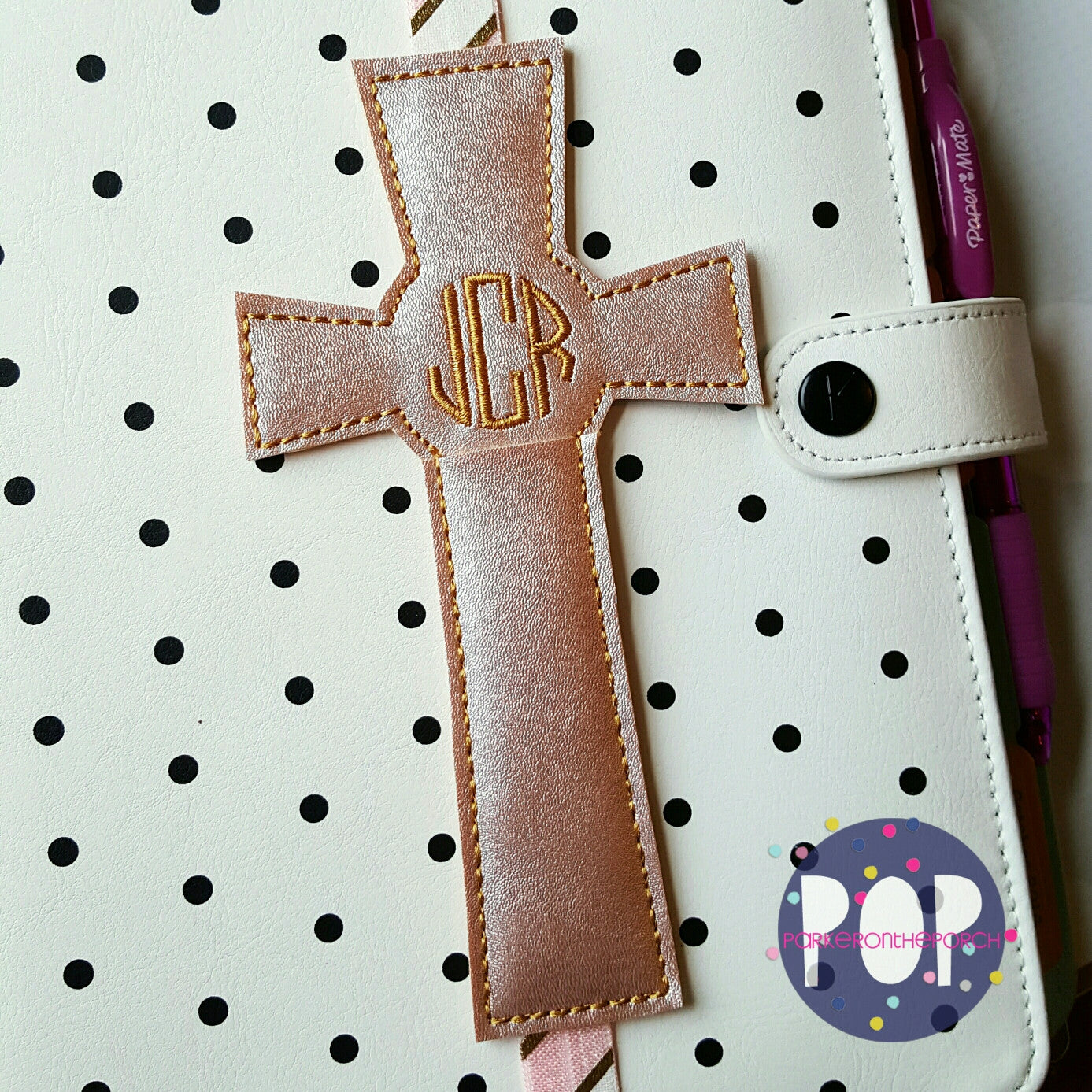 Digital Download- Cross Pen Holder Planner Band (5x7 only) - in the hoop machine embroidery ITH pattern