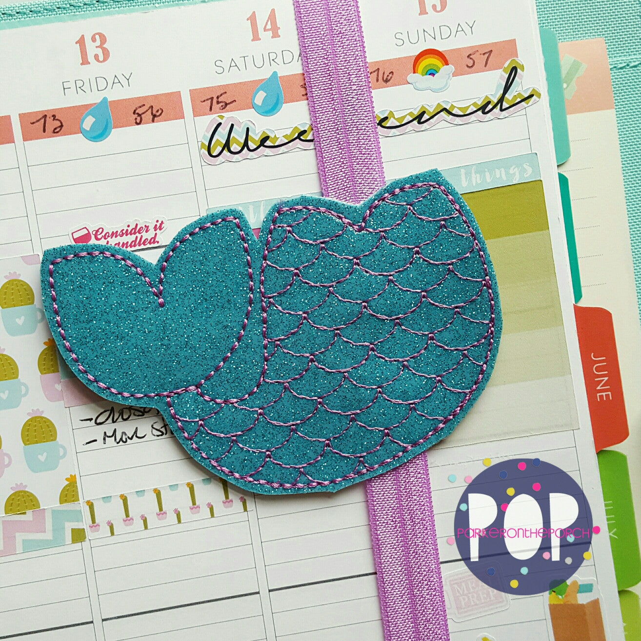 Digital Download- Planner Band-  Mermaid Tail - in the hoop machine embroidery