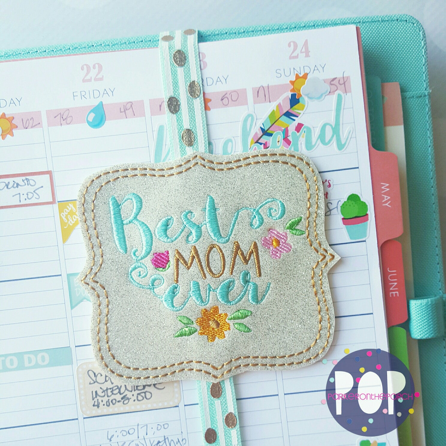Digital Download- Planner Band Best Mom Ever and Mum Ever - in the hoop machine embroidery