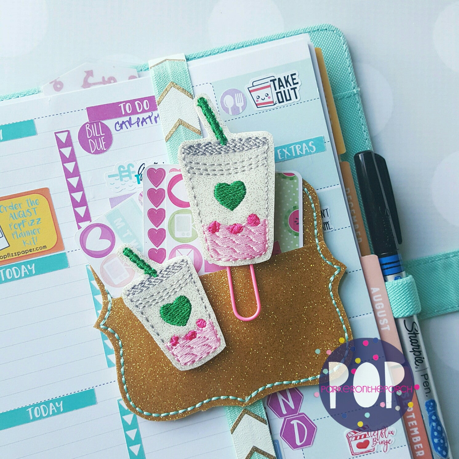 Digital Download - Pink Drink Planner Clip & Feltie Set - in the hoop machine embroidery
