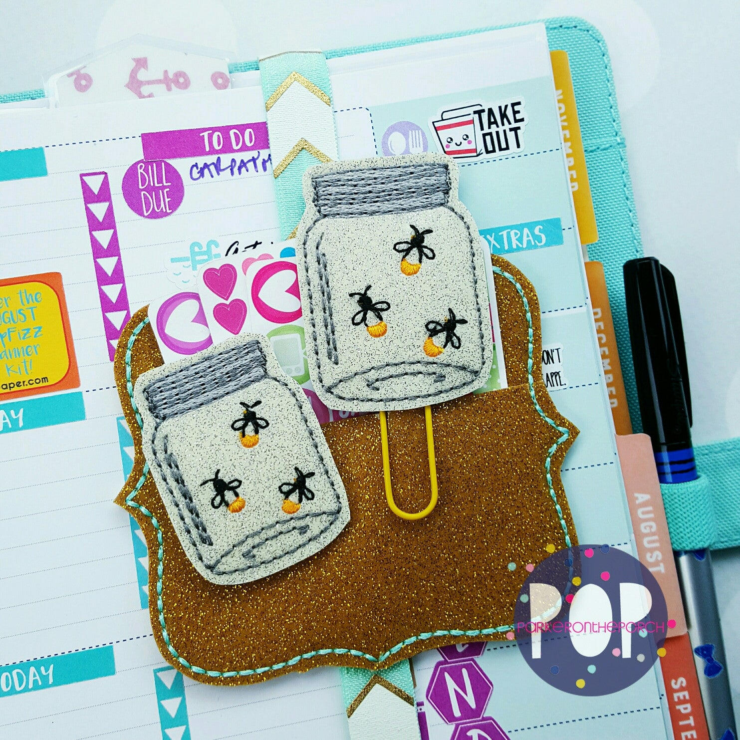 Digital Download- Fireflies In a Jar Planner Clip & Feltie Set - Parker on the Porch