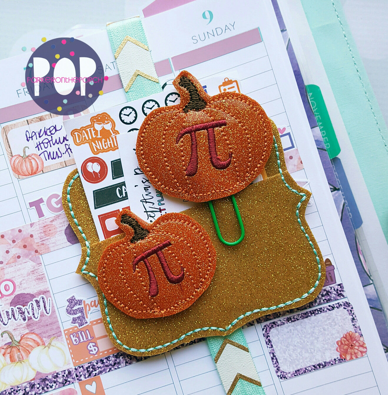 Digital Download- Pumpkin Pi Planner Clip & Feltie Set - in the hoop machine embroidery