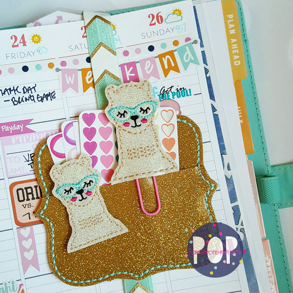 Digital Download- Llama 2.0 Planner Clip & Feltie Set - in the hoop machine embroidery ITH pattern