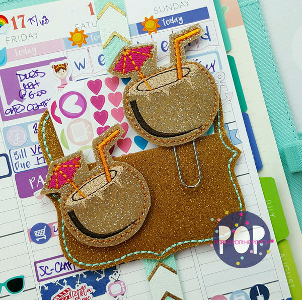 Digital Download- Coconut Punch Planner Clip & Feltie set - in the hoop machine embroidery ITH pattern