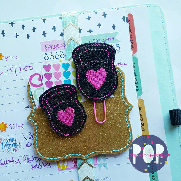 Digital Download- Kettle Ball Planner Clip & Feltie Set - in the hoop machine embroidery ITH pattern