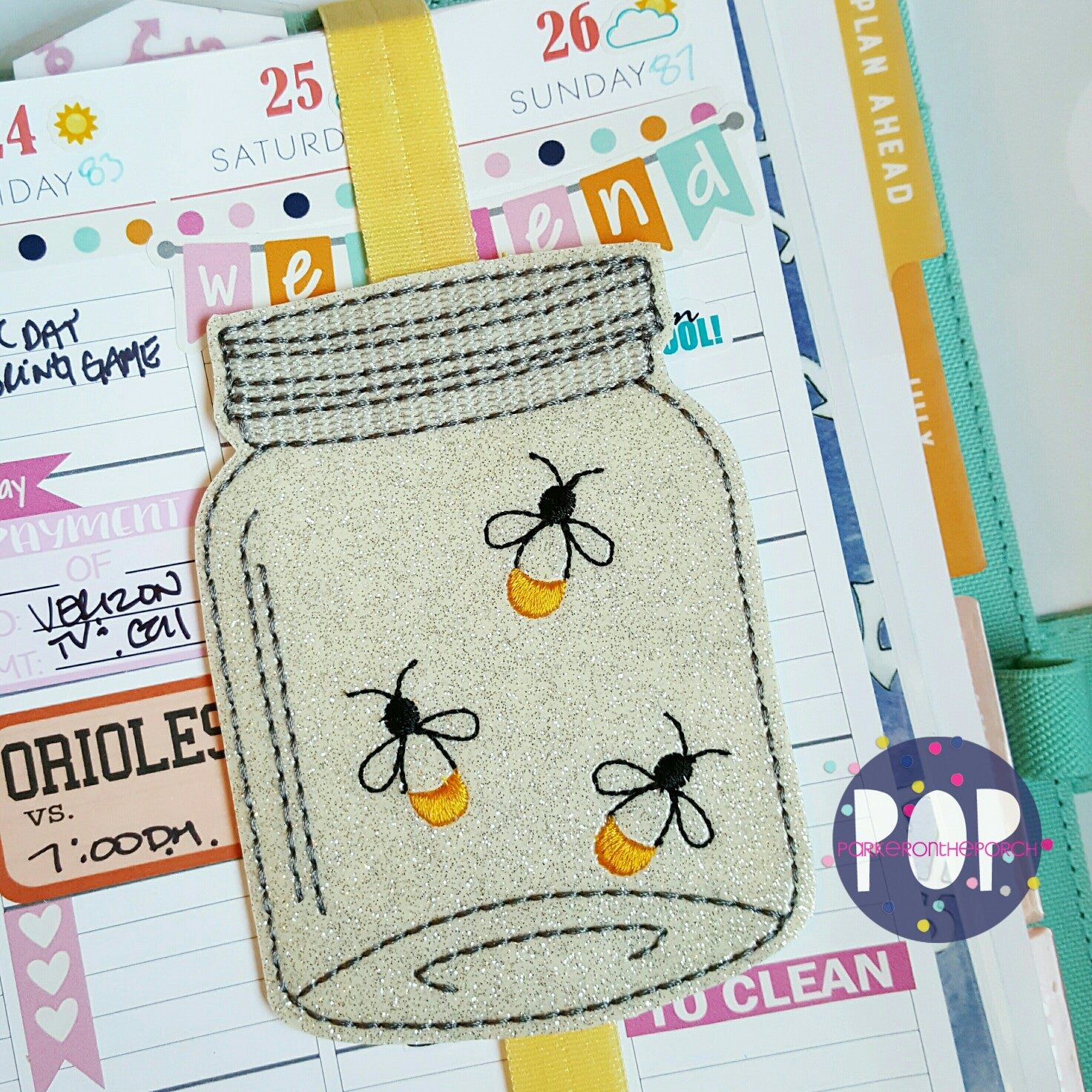 Digital Download- Mason Jars Of Fireflies Planner Band (Plus Blank) - in the hoop machine embroidery ITH pattern