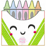 Digital Download- School Days- Crayon Banner - in the hoop machine embroidery ITH pattern