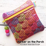 Digital Download - Rainbow Heart Zipper Bag - in the hoop machine embroidery ITH pattern