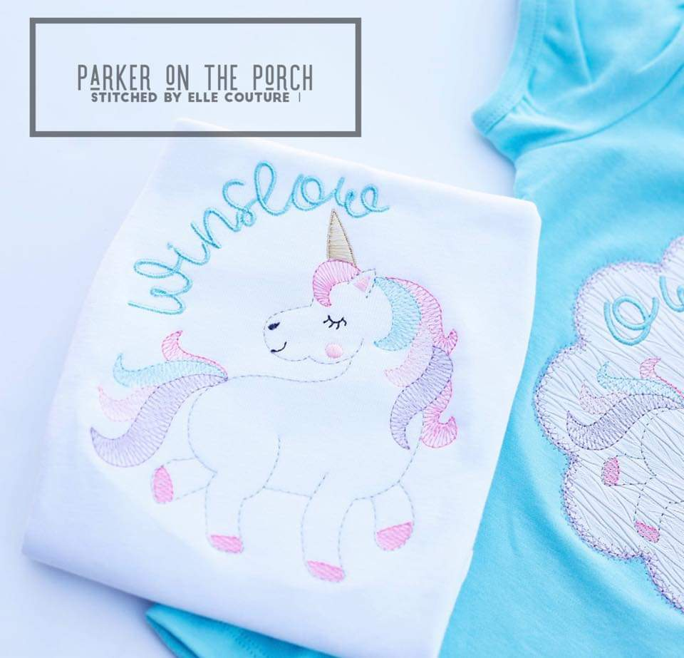Digital Download- Unicorn 2.0 Sketch - Embroidery Fill - in the hoop machine embroidery ITH pattern