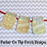 Digital Download- Stars and Stripes Mason Jar Banner Set - in the hoop machine embroidery ITH pattern