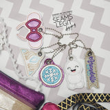 Digital Download- Magical Snow Charm Set - in the hoop machine embroidery ITH pattern