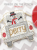 Digital Download- Snowman Truck Banner - in the hoop machine embroidery ITH pattern