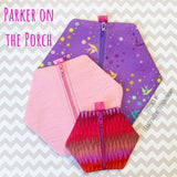 Digital Download- Basic Zipper Bag- Hexagon - in the hoop machine embroidery ITH pattern