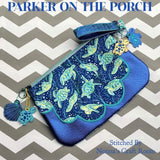 Digital Download- Seaside Top Zip Clutch Zipper Bag - in the hoop machine embroidery ITH pattern