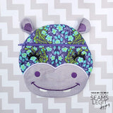 Digital Download- Hippo Zipper Bag - in the hoop machine embroidery ITH pattern