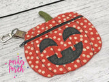 Digital Download- Pumpkin Zipper Bag - in the hoop machine embroidery