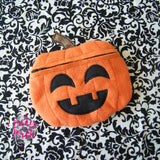 Digital Download - Pumpkin Zipper Bag - in the hoop machine embroidery ITH pattern