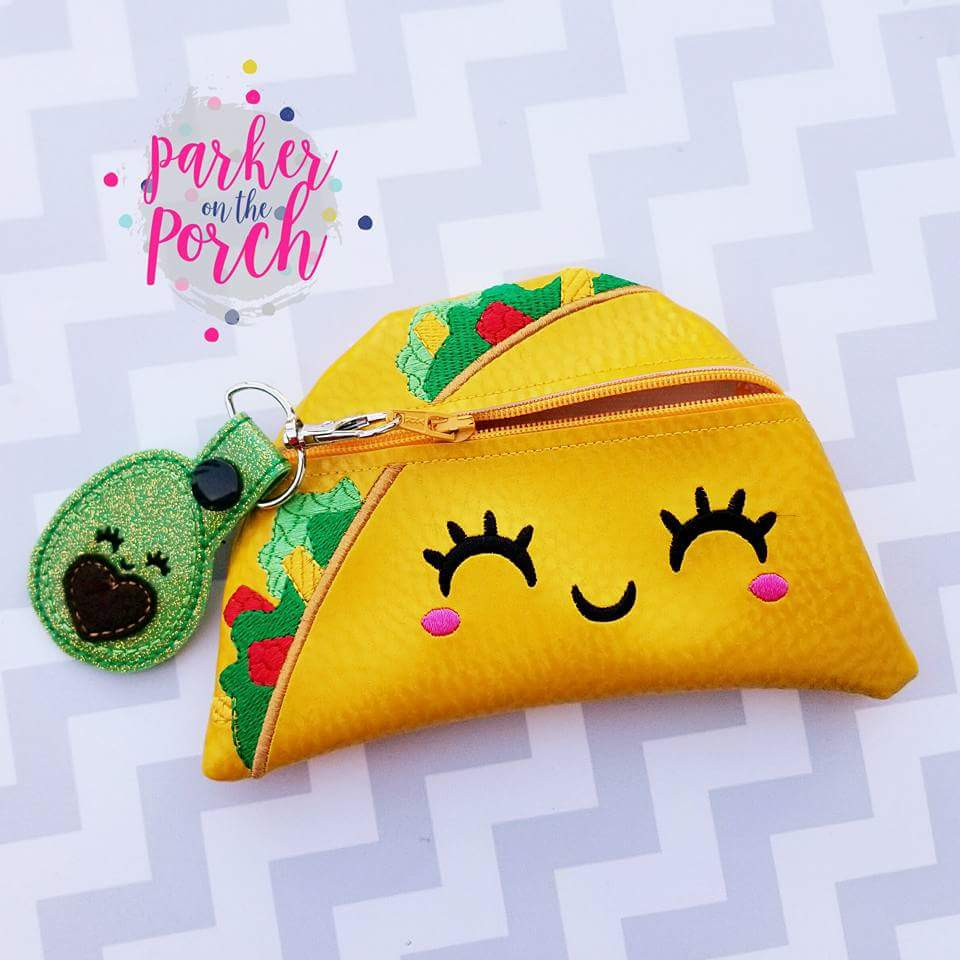 Digital Download - Taco Zipper Bag - in the hoop machine embroidery ITH pattern
