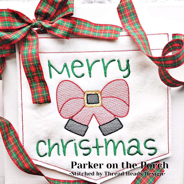 Digital Download- Santa Bow Sketch Embroidery Fill