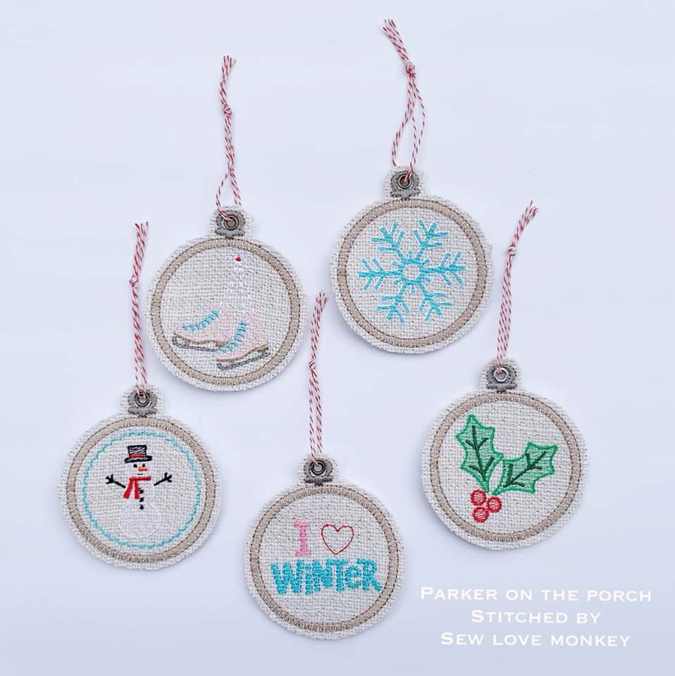 Digital Download- Embroidery Hoop Winter Ornament Set - in the hoop machine embroidery