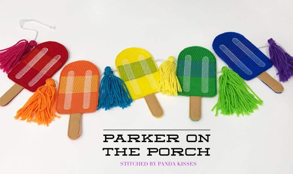Digital Download- Popsicle Banner - in the hoop machine embroidery