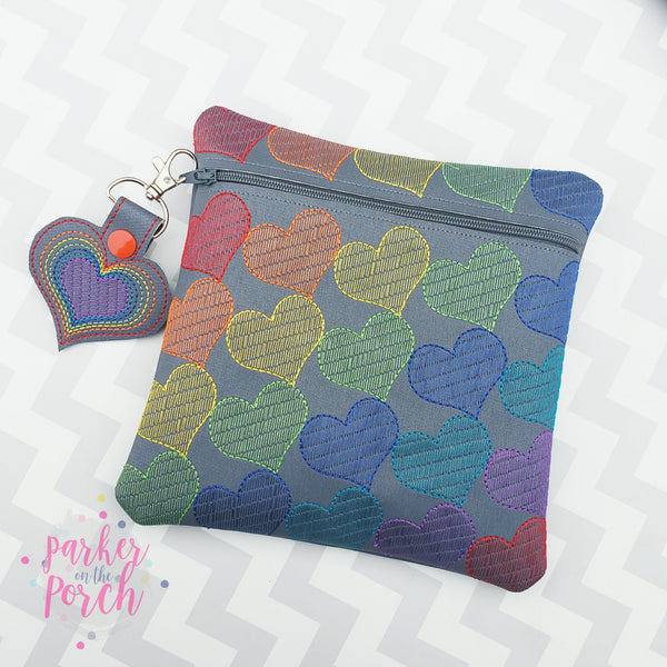 Digital Download- Rainbow Heart Zipper Bag