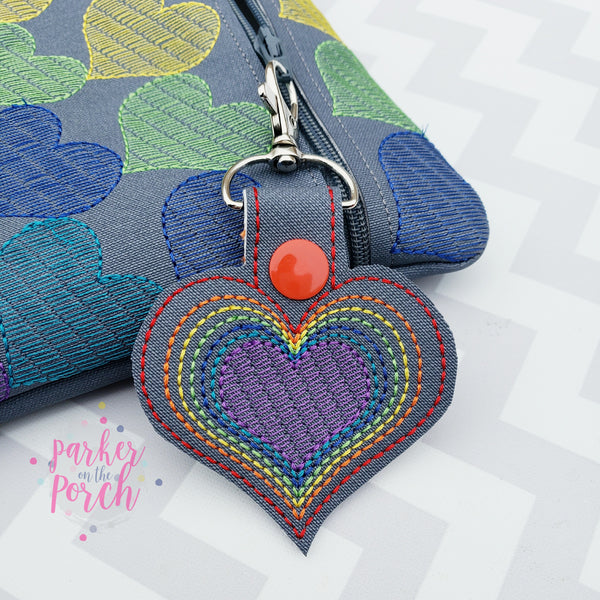 Digital Download- Rainbow Heart Snaptab - in the hoop machine embroidery