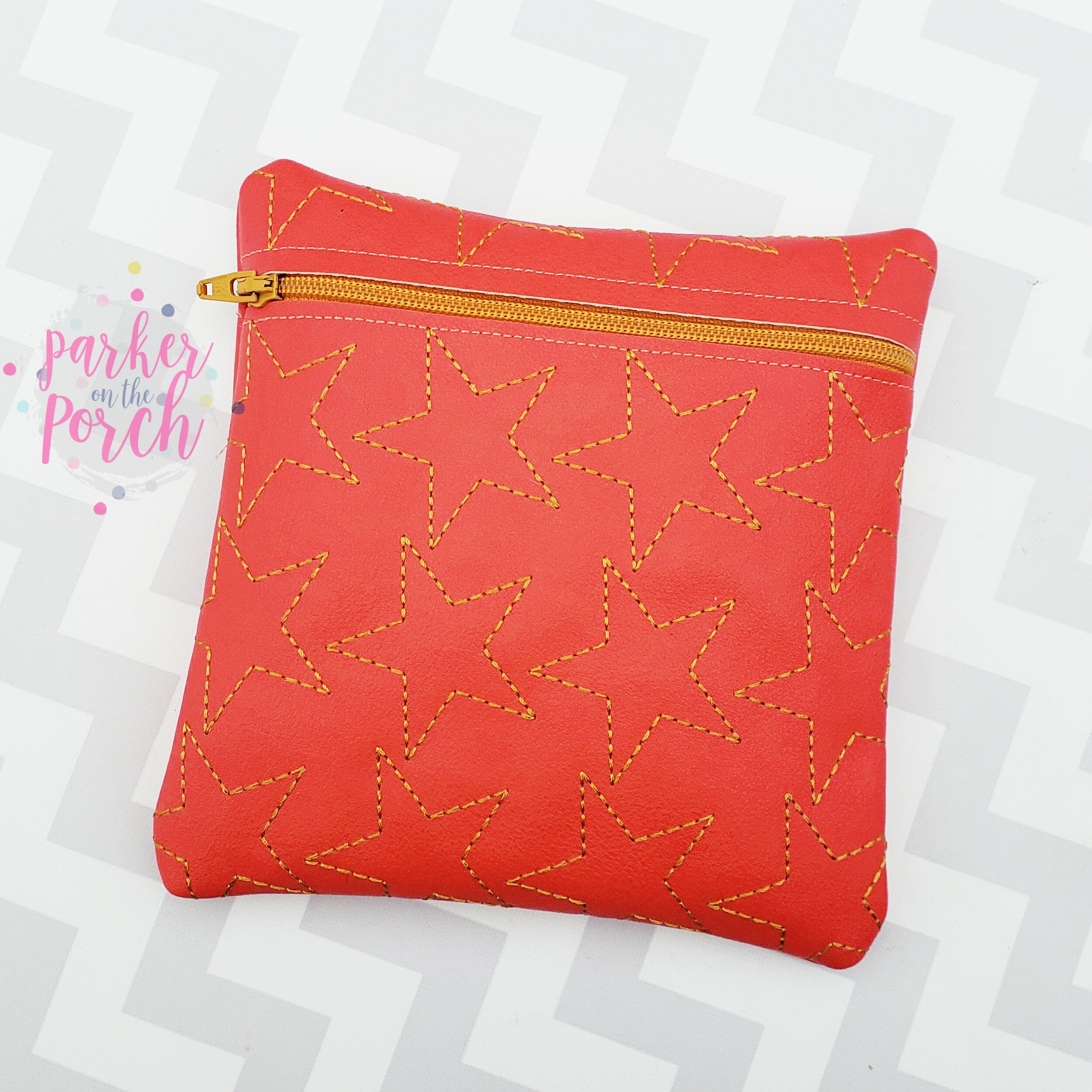 Digital Download - Sketch Stars Zipper Bag - in the hoop machine embroidery ITH pattern